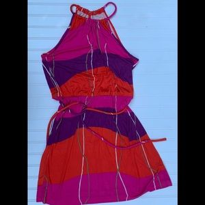 TRINA TURK Silk Halter Sleeveless Shift DRESS 10